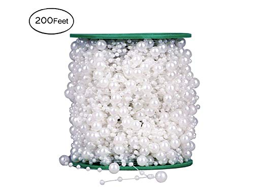 Yunko 200feet Beads Pearls String Roll Wedding Party Decor DIY Centerpieces Bridal Bouquet and Dress Crafts Decoration Accessory,8mm and 3mm (White) by YunKo