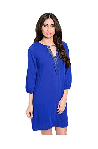2LUV Women's 3/4 Sleeve Chiffon Blouse Dress Blue M (H And M Fancy Dress)