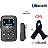 DeeFec Portable Clip Sport Bluetooth MP3 Player 8GB Lossless Sound Music Player with FM Radio Voice Recorder Supports Micro SD Card up to 64GB + Free Sport Armband (Black)