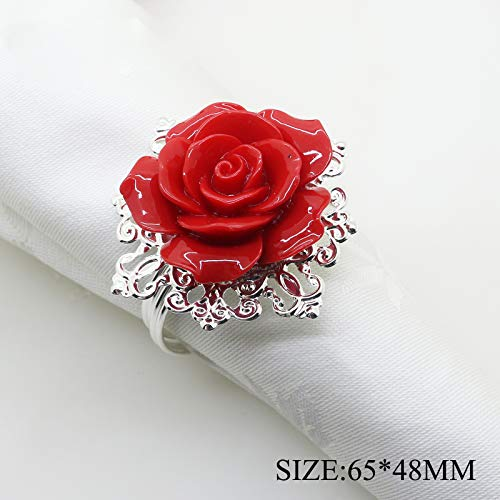AngHui ShiPin 10pcs Red Rose Decorative Silver Napkin Ring Serviette Holder for Wedding Party Dinner Table Decor Many Color Available for Christmas Table (Table Rings Napkin Art)