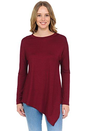 iconic luxe Womens Asymmetric Hem Long Sleeve Tunic Top
