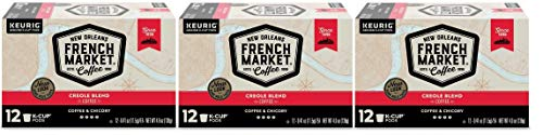French Market Coffee, Single Serve K-Cups, Medium Dark Roast Coffee and Chicory, 4.9oz Box (Pack of 3) Packaging may vary