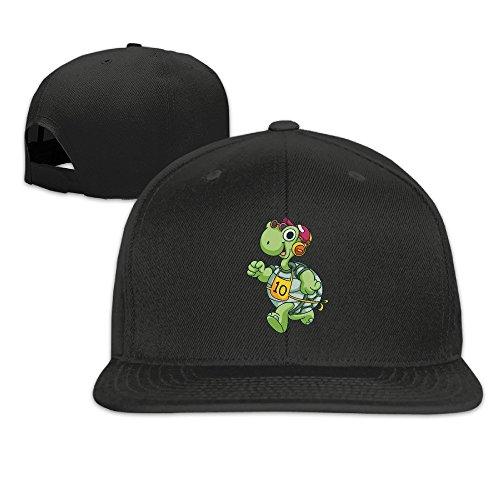 BASEE Sport Running Turtle Funny Cartoon Adjustable Flat Along Baseball Cap Black ()