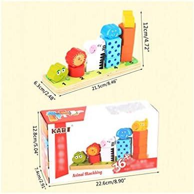 QJL_ANA Grote Houten Blokken Bouw Building Toys Set, Cartoon Animal Shape Colors Numbers Match Toys Set Kids
