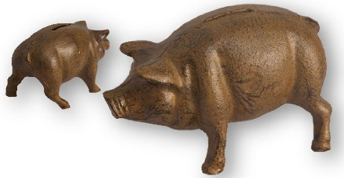 IWDSC Cast Iron Pig Bank Rust