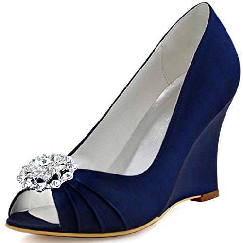 ElegantPark EP2009AH Women Peep Toe High Heels AH01 Removable Shoe Clips Satin Wedges Wedding Court Shoes Ah Navy Blue xRxIe2t5