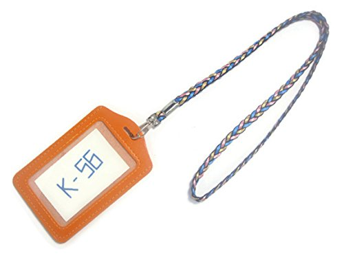k-56-vertical-style-pu-leather-id-badge-holder-with-16-inch-detachable-neck-strap-lanyard-orange-mix