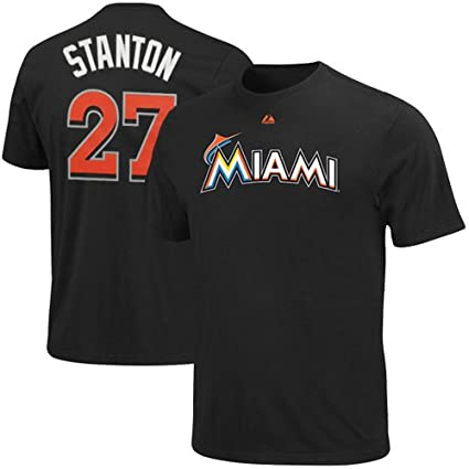 buy popular 21209 283ca Majestic Giancarlo Stanton #27 Youth Black Miami Marlins Name & Number  T-Shirt
