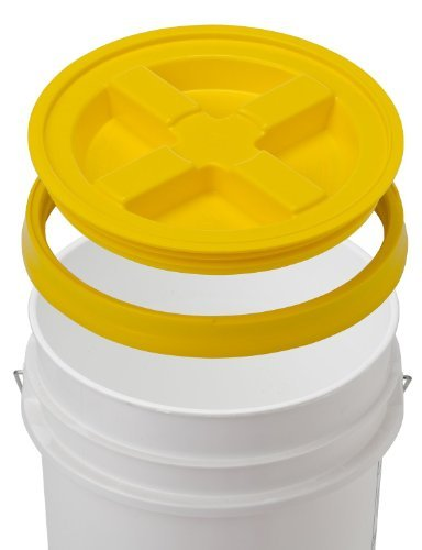 5 Gallon White Bucket & Gamma Seal Lid - Food Grade Plastic Pail & Gamma2 Screw Seal Tight Lid (Yellow) by Gamma Seal