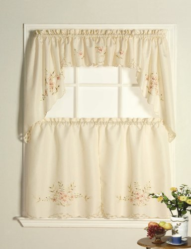 LORRAINE HOME FASHIONS Garden Gate Floral Embroidered Tailored - Tailored Garden Valance