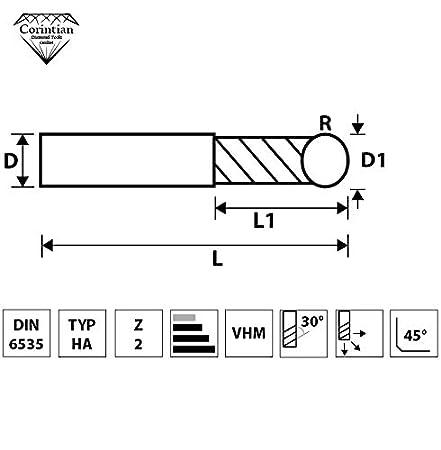 /Ø 6mm High Performance Cutting HPC geeignet Corintian VHM Radiusfr/äser Kugelkopffr/äser 2 Z/ähne AlTiN Beschichtung