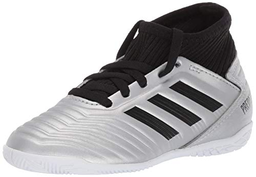 adidas Unisex Predator 19.3 Indoor Soccer Shoe, Silver Metallic/Black/hi-res red, 3 M US Little Kid (Shoes Adidas Junior)