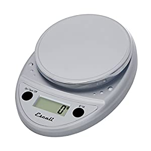 Escali Primo P115C Precision Kitchen Food Scale for Baking and Cooking, Lightweight and Durable Design, LCD Digital Display, 8″ x 6″ x 1.25″, Chrome
