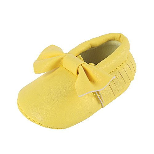 Weixinbuy Baby Boys Girls Soft Soled Tassel Bowknots Crib Shoes PU Moccasins Contrast Leather Sneaker Yellow