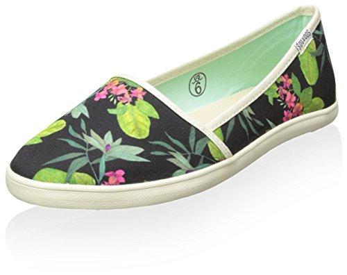 Soludos Women's Floral Slip On Sneaker, Black, 10 M US