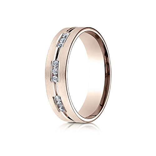 14k Rose Gold 6mm Comfort-Fit Etched Channel Set 18-Stone Diamond Eternity Ring (.36ct) - Size 4 by Wedding Bands Wholesale