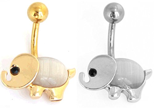 Thenice 2 Pcs 16mm 14 Gauge Cute Elephant Cartoon Opal Inlay Navel Rings Stud Body Piercing Gold Silver