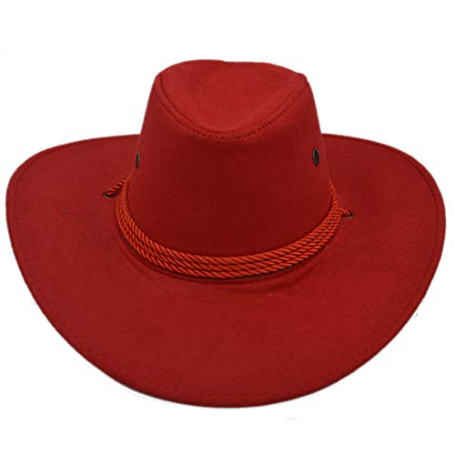 (Yosang Adult Western Suede Hat Cowboy Outdoorsman Hat Travelling Summer Cap Red)