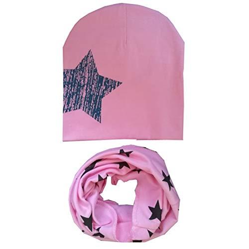 New Spring Autumn Winter Girls Dot Ear Hat Set Crochet Baby Hats Children Caps Toddlers Kids Hat Scarf Collars ()