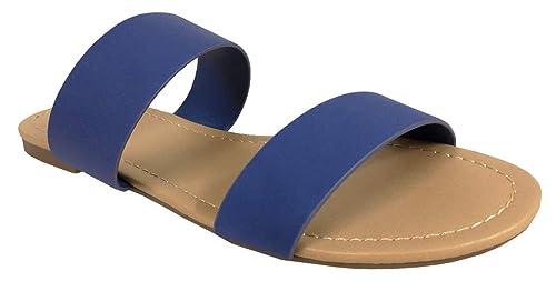 287d361fef SODA Browse Women's Dual Straps Slip On Sandals, Blue Nubuck Leatherette  5.5 ...