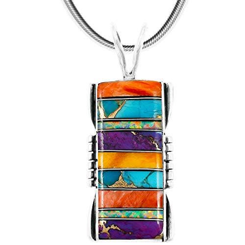 Turquoise & Gemstones Pendant Necklace in Sterling Silver 925 (Choose Style) (Rectangle) ()