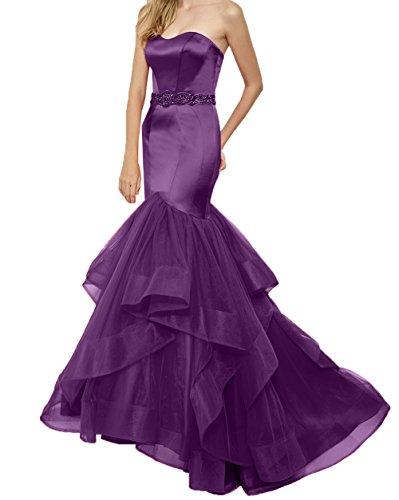 Langes Trumpet Ballkleider Perlen Abendkleider Violett Etuikleider Meerjungfrau Kleider mit Partykleider Damen Charmant Rot Guertel nEfqB81Sxw
