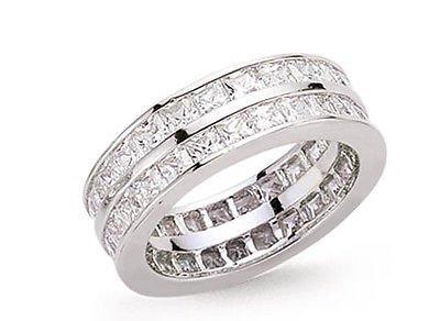 J R joyas 425392 chapado en platino plata de ley dos Fila Circonita Cúbica cuadrados anillos de