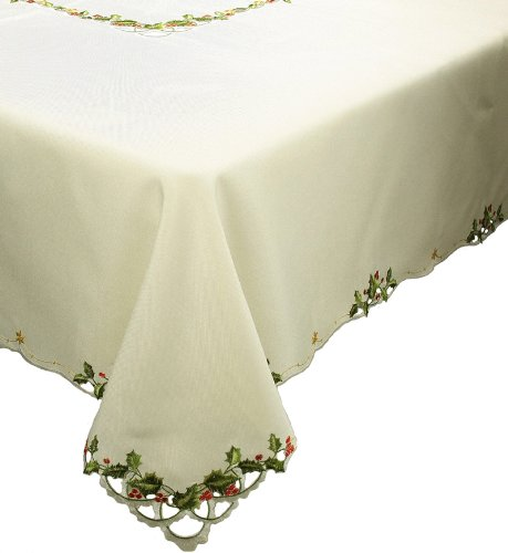 Xia Home Fashions Winter Berry Christmas Table Cloth, 65 by 140-Inch (Winterberry Collection Tableware)