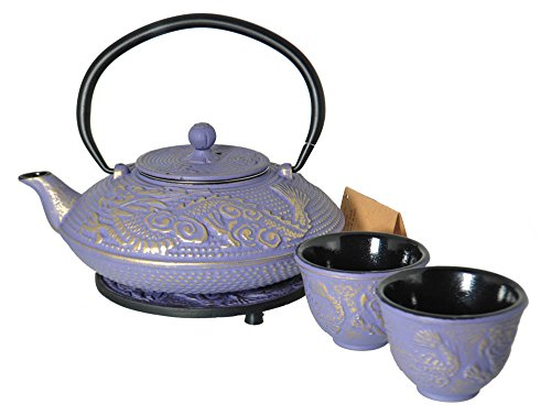 (M.V. Trading T8240 Cast Iron Tea Set with Trivet, 27 Ounce, Lavender Dragon Gold Accent)