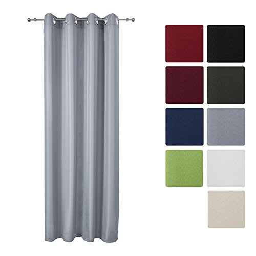 Beautissu® Blickdichter Ösen-Vorhang Amelie - 140x245 cm Grau Uni - Dekorative Gardine Ösenschal Fenster-Schal