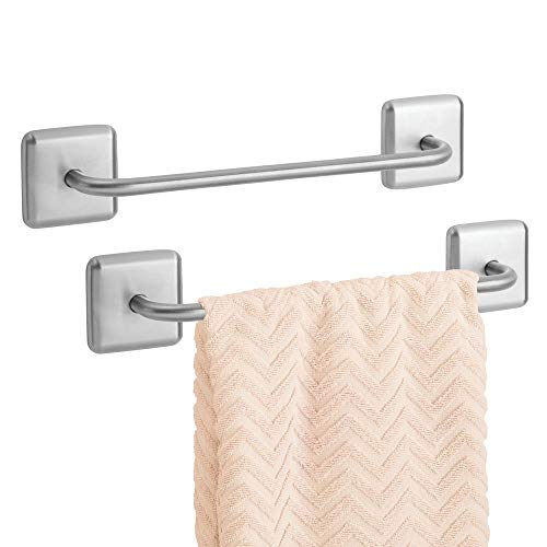 mDesign Metal Bathroom Storage Towel Bar with Strong Self Adhesive - Holder Rack for Hanging Washcloths, Hand, Face Towels in Main or Guest Powder Rooms - 2 Pack - Brushed (Command Hook Towel Rack)