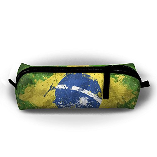 FJSLIE Oil Paint Brazil Flag Oxford Storage Bags Portable Student Pencil Printing Office Stationery Bag Zipper Wallets Makeup Multi-function Bag