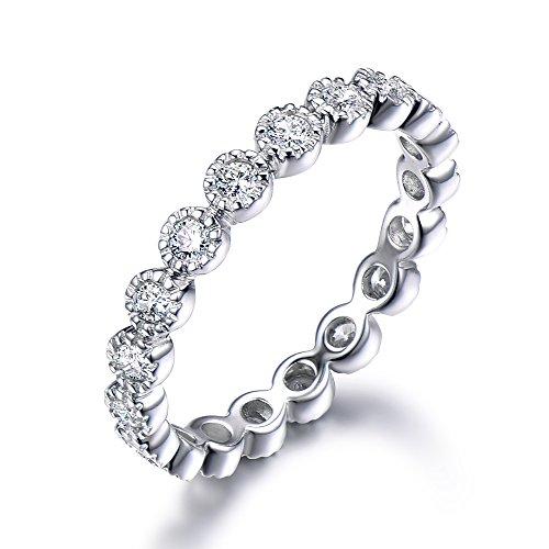 (Diamond Wedding Band 14k White Gold CZ Cubic Zirconia Eternity Bezel Milgrain Stacking Engagement Ring )