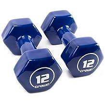 Crown Sporting Goods Vinyl Hex Hand Weights Home and Gym Equipment, Dark Blue