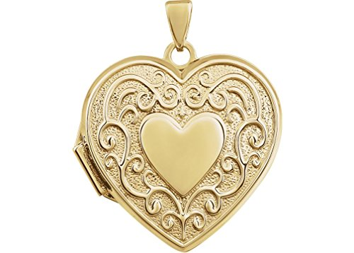 14k Yellow Gold Scroll Design Heart Locket by The Men's Jewelry Store (for HER)