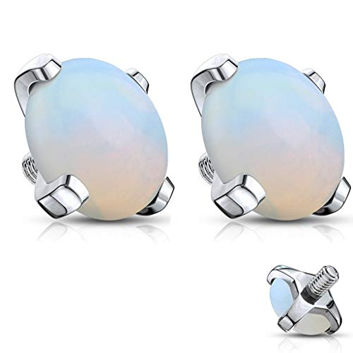 Forbidden Body Jewelry 14g Surgical Steel 5mm Synthetic Stone Dermal Top (Opal Pair)