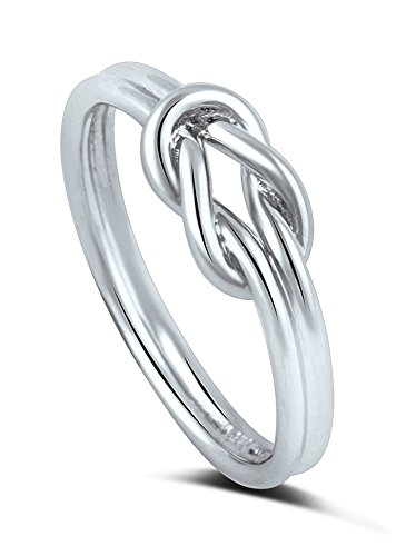 Sterling Silver High Polish Double Band Love Knot Infinity Ring (10) - Sterling Silver Double Knot Ring