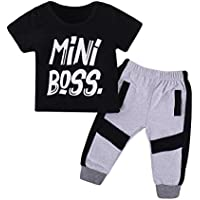 Kids Baby Little Boys Short Sleeve Mini Boss T-Shirt Long Pants Outfits Clothes Set