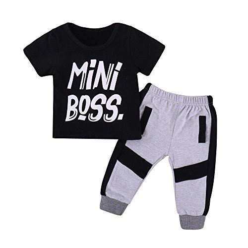 Kids Baby Little Boys Short Sleeve Mini Boss T-Shirt Long Pants Outfits Clothes Set …