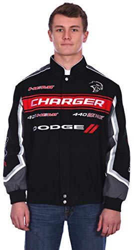 Mens Dodge Charger Embroidered Cotton Twill Jacket (Large, Black)
