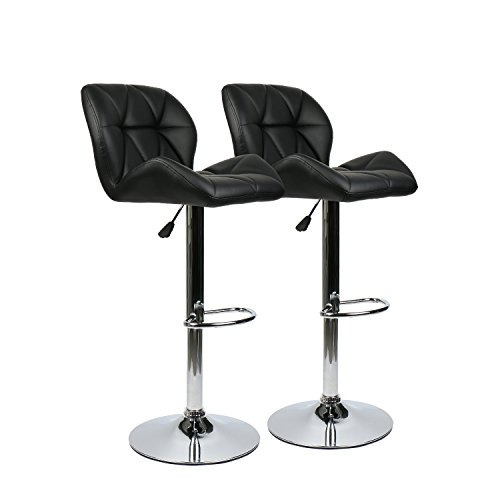 360 Degree Swivel Adjustable Bar Stool, Mordern Faux Leather Padded with Back Pub Chair, Set of 2, Black - Leather Steel Bar Stool