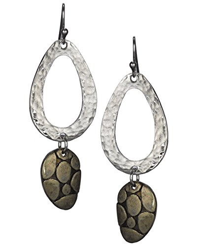 Hammered Oval & Stippled Dangling Bronze Pebble Earrings by Jewelry Nexus