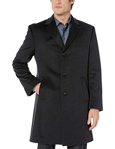 Kenneth Cole REACTION Men's Raburn Wool Top Coat, Charcoal, 40 Regular