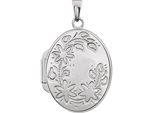 Sterling Silver Floral Oval Locket by The Men's Jewelry Store (for HER)