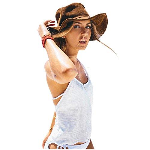 Tongshi Verano de las mujeres ocasional sólido sin mangas del chaleco de las tapas del tanque camisa de la blusa Blanco