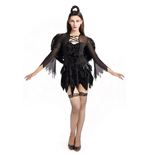Peter Pretty Pan Womens Adult Costumes (Halloween Angel Cospaly for Girls Black Fallen Angel Dresses Party costume)