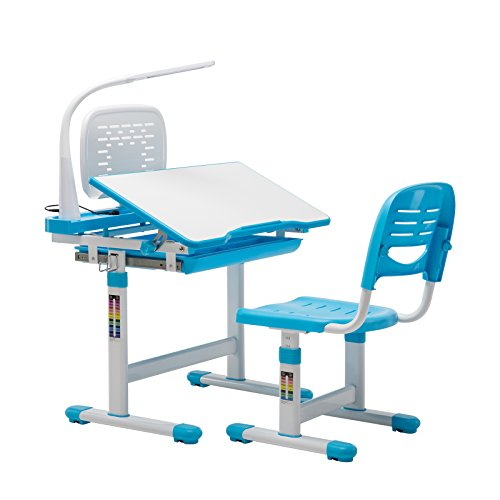 Mecor Children Desk,Kids Study Table and Chair Set Adjustable Childs Desk w/Lamp School Student Writing Desk w/Pull Out Drawer Storage,Pencil Case,Bookstand Blue
