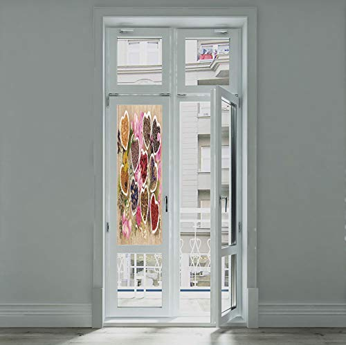(YOLIYANA Ethylene Film Printing Design Window Film,Floral,Suitable for Kitchen, Bedroom, Living Room,Healing Herbs Heart Shaped Bowls Flower Petals)