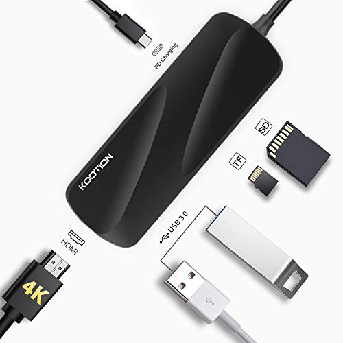 Kootion USB C Hub 6-in-1 USB-C Hub for Laptop with 4K HDMI Adapter, 2 x USB 3.0 Ports, SD/TF Card Reader, PD Charging Port, Portable Type-C USB Converter for MacBook Pro/Air, XPS, ChromeBook etc