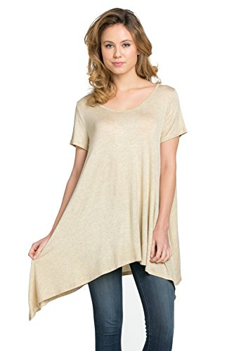 Frumos Womens Tunic Short Sleeve Top T Shirts T Shirts IT-Oatmeal X-Large Photo #2